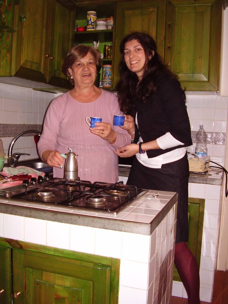 It's the simple things in life! Here, Allison enjoys an espresso in the kitchen with her cousin Tanina. She met Tanina when she was 23, and now, she is like a second mother to her.