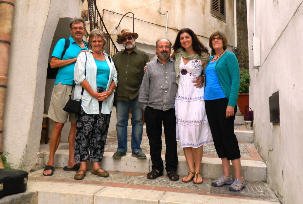 This was taken in September 2014 in Sutera, Sicily. During that tour, Allison brought her Experience Sicily clients to Sutera for a private concert with the world-renowned Sicilian music duo Fratelli Mancuso. Sutera is Fratelli Mancuso's hometown, and they played for the tour group in a vicolo (medieval alleyway) of the town! To date, this is one of Allison's most memorable experiences ever in Sicily. Fratelli Mancuso are sublime and generous musicians and people. Allison explains that if you don't know their music, you have missed something spectacular!