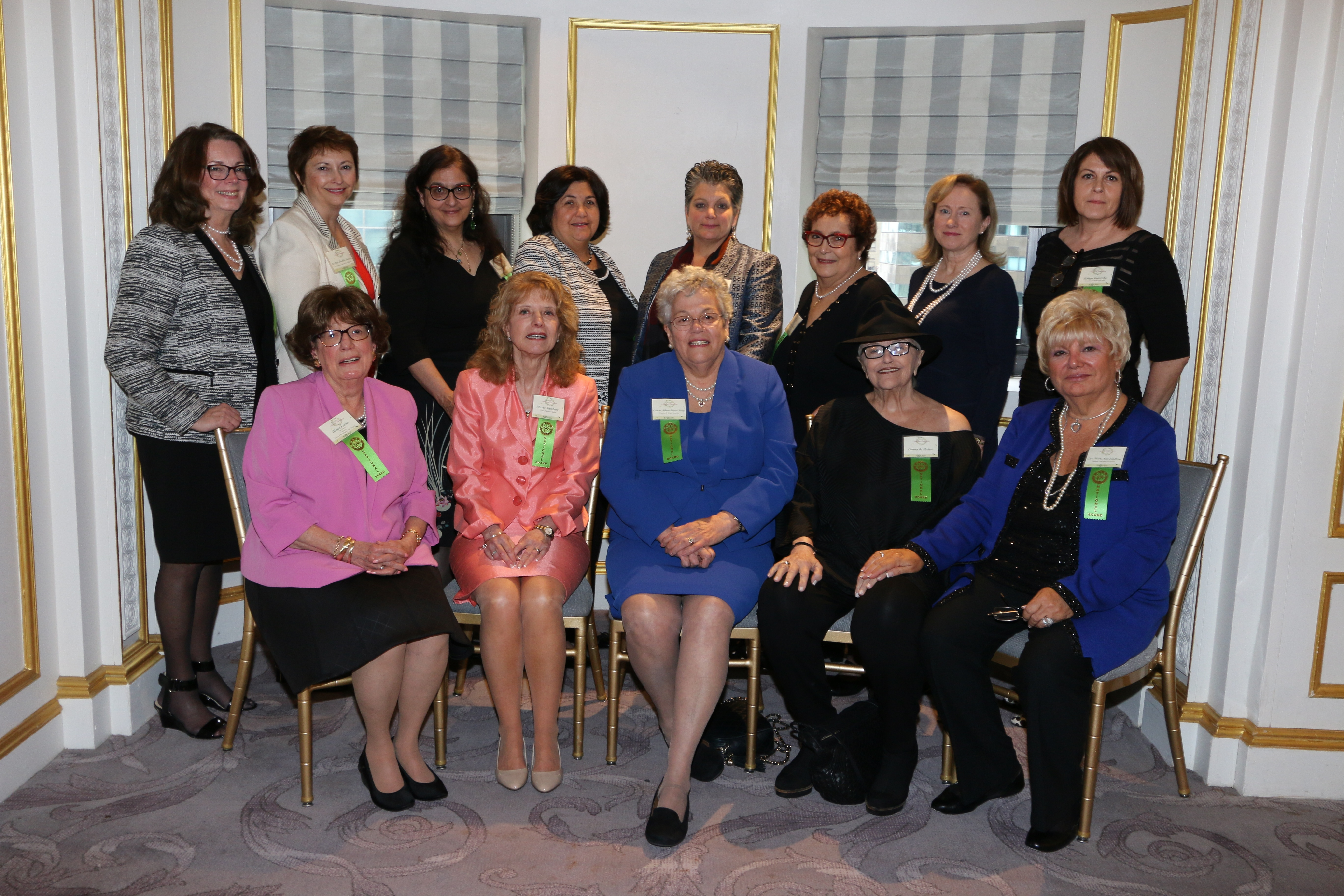 NOIAW National Board Members from left back row: Greater New York Regional Director MaryRose Barranco Morris, Ed.D.; Connecticut Regional Director Jo-Ann Daddio-Larsen; Donna M. Chirico, Ed.D.; Betty Santangelo, Esq.; Donna Corrado, Ph.D., LCSW; Hon. Angela Mazzarelli; Rhode Island Regional Director Anne Marie D'Attelo; Co-Chair of Annual Luncheon and Treasurer Robyn Imbimbo; seated from left: Vice Chair and Washington, DC Regional Director Diana Femia; National Chair Maria Tamburri; Founder & Chair Emerita Aileen Riotto Sirey, Ph.D.; Donna de Matteo and Co-Chair of Annual Luncheon and Secretary Cav. Mary Ann Mattone, RN/MPH. Not pictured: Maria T. Vullo, Esq.