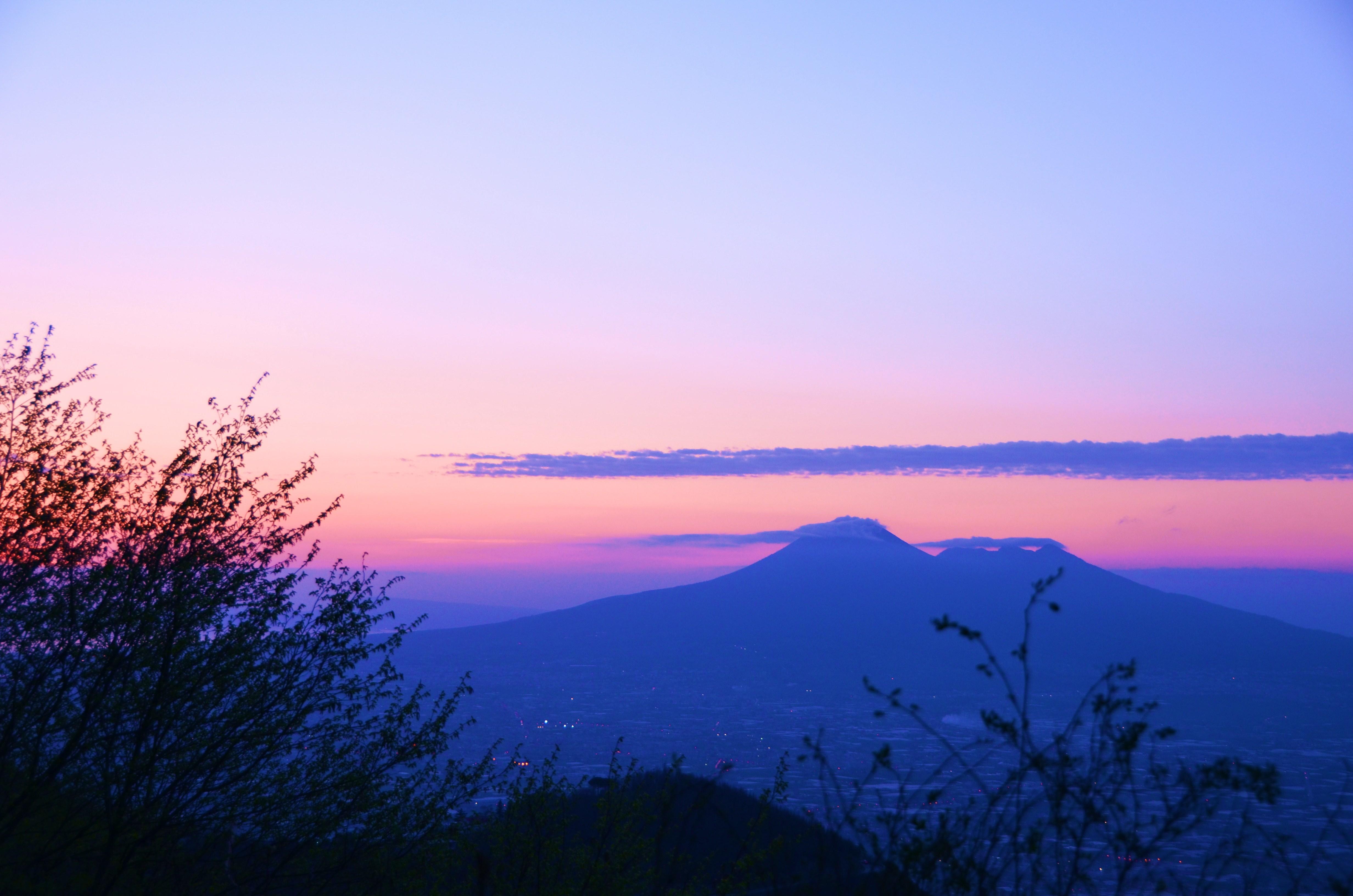 Mt. Vesuvius at sunset, Naples, Italy.